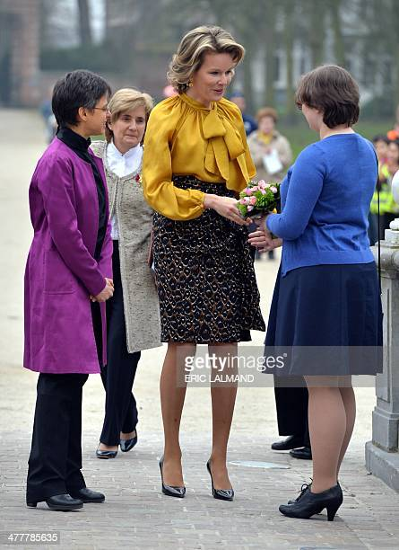 Antwerp province governor Cathy Berx and Queen Mathilde of Belgium meet with leading women from various sectors in the Antwerp province on March 11...