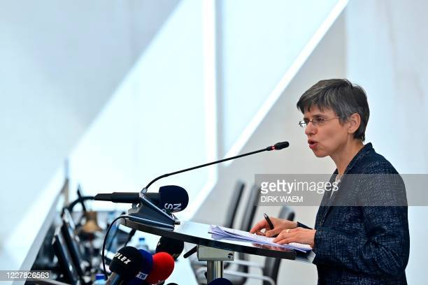 Antwerp province governor Cathy Berx speaks during a press conference of the Antwerp Province regarding new measures to prevent the spread of the...