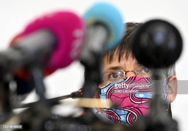 Antwerp province governor Cathy Berx, wearing a protective face mask, holds a press conference on the measures taken to prevent the spread of...