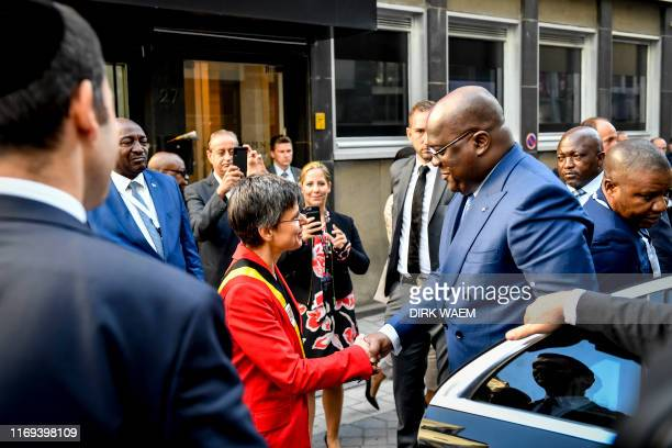 Antwerp province governor Cathy Berx welcomes DRC Congo President Felix Tshisekedi pictured during a visit to the Antwerp World Diamond Center as...