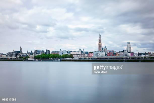antwerp skyline - antwerp city belgium stock-fotos und bilder