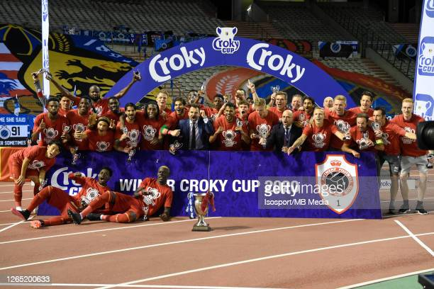 Antwerp team celebrates the victory after the Croky Cup final match between Club Brugge and Royal Antwerp FC on August 1, 2020 in Brussels, Belgium.
