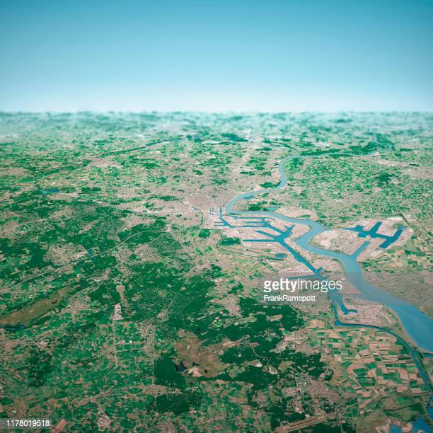 antwerpen city 3d render aerial horizon view from north aug 2019 - frankramspott stock pictures, royalty-free photos & images