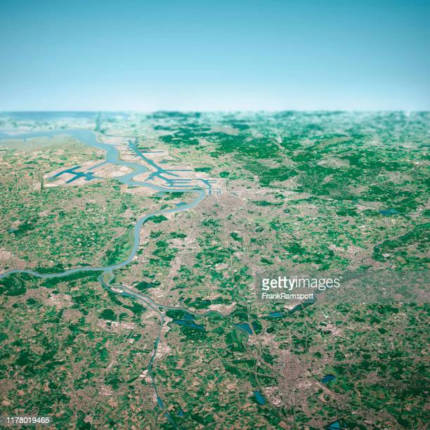 antwerpen city 3d render aerial horizon view from south aug 2019 - frankramspott stock pictures, royalty-free photos & images