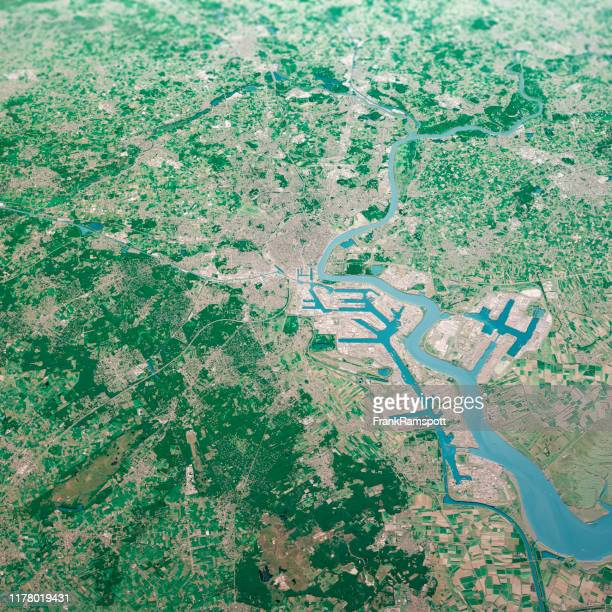antwerpen city 3d render aerial landscape view from north aug 2019 - frankramspott stock pictures, royalty-free photos & images