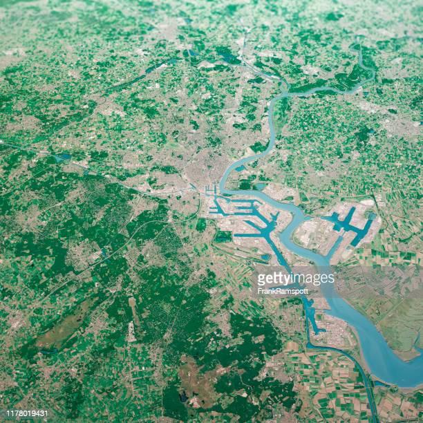 antwerpen city 3d render aerial landscape view from north aug 2019 - frank ramspott imagens e fotografias de stock