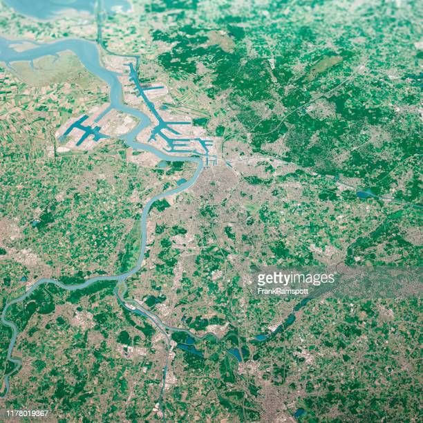 antwerpen city 3d render aerial landscape view from south aug 2019 - frankramspott stock pictures, royalty-free photos & images