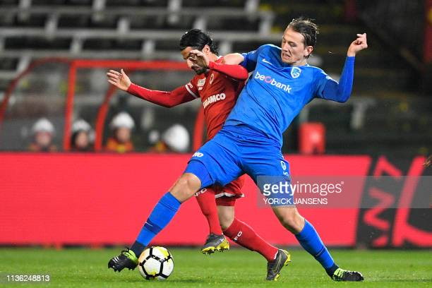 Antwerp's Lior Refaelov and Genk's Sander Berge fight for the ball during a soccer match between Royal Antwerp FC and RC Genk Tuesday 02 April 2019...
