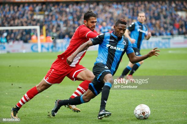 Antwerp's Matheus Borges Domingues and Brugge's Emmanuel Bonaventure Dennis fight for the ball during the Jupiler Pro League match between Club...