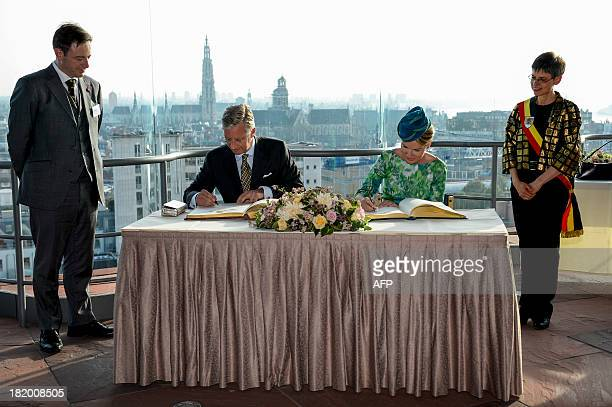Antwerp's mayor Bart De Wever, King Philippe of Belgium, Queen Mathilde of Belgium and Antwerp's province governor Cathy Berx attend the 'Joyous...