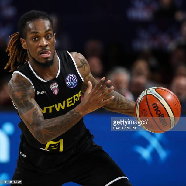 Antwerp's Paris Lee pictured in action during a basketball match between Antwerp Giants and German team Brose Bamberg the match for the third place...