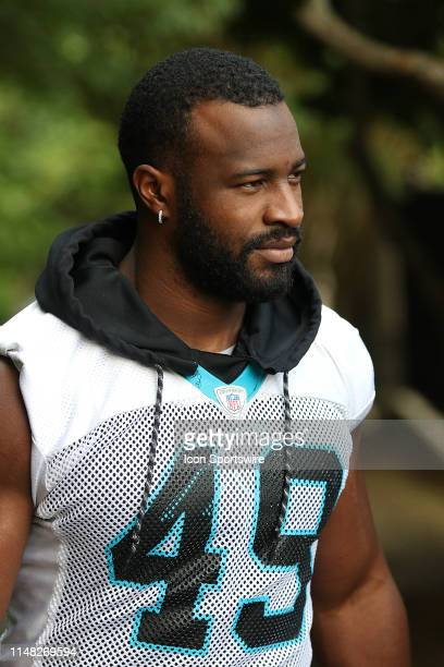 Antwione Williams linebacker of Carolina during an OTA practice at the Carolina Panthers training facility in Charlotte, N.C. On June 3, 2019.