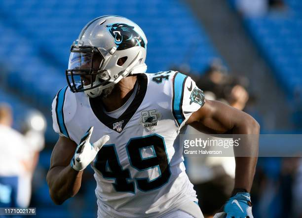 Antwione Williams of the Carolina Panthers warms up before their preseason game against the Pittsburgh Steelers at Bank of America Stadium on August...