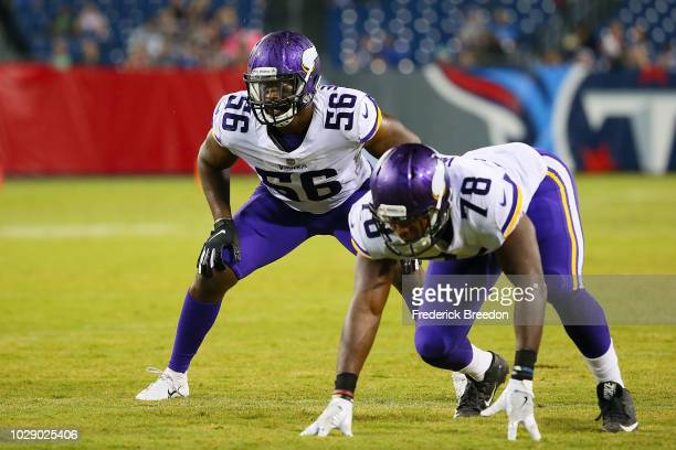 Antwione Williams of the Minnesota Vikings plays against the Tennessee Titans during a pre-season game at Nissan Stadium on August 30, 2018 in...