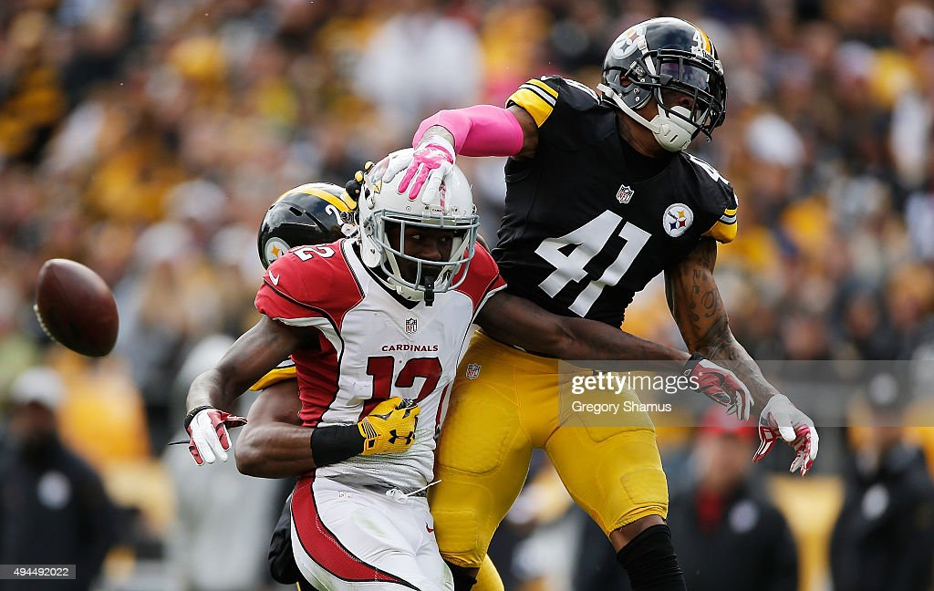 Antwon Blake #41 of the Pittsburgh Steelers breaks up a pass intended for John Brown #12 of the Arizona Cardinals at Heinz Field on October 18, 2015 in Pittsburgh, Pennsylvania.