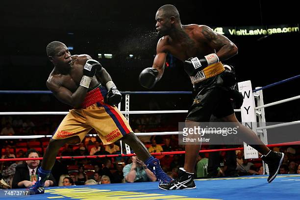 Antwun Echols spits at Fulgencio Zuniga after throwing a punch during their super middleweight bout at Thomas Mack Center on June 23 2007 in Las...