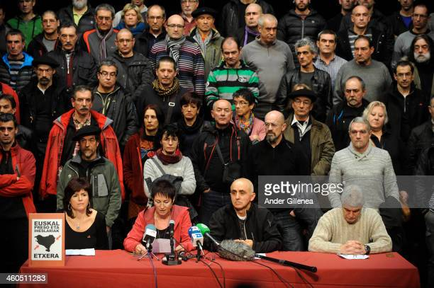 Antxon Lopez Estanis Etxaburu Arantxa Garballo and Ines Lopez give a press conference to represent the recently released 63 ETA prisoners to value...