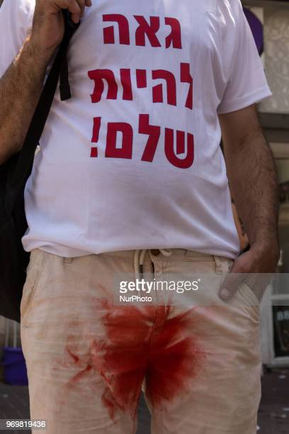 Anty circumcision protest during 20th Pride Parade in Tel Aviv Israel on June 8 2018 The beach boulevard march attracted 250 thousand people