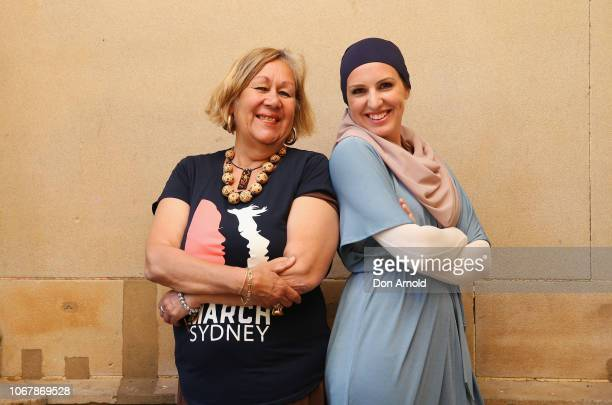 Anty Norma Ingram and Gabrielle Englebrecht attends the Sydney 2019 #Womenswave Women's March Media Call at Sydney Town Hall on December 3 2018 in...