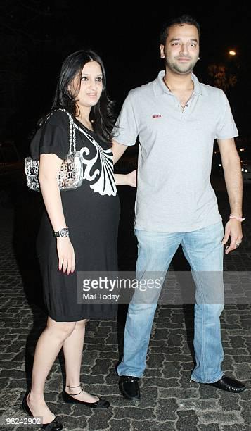 Anu and Sunny Deewan during Karisma Kapoor's house warming party in Mumbai on January 26 2010
