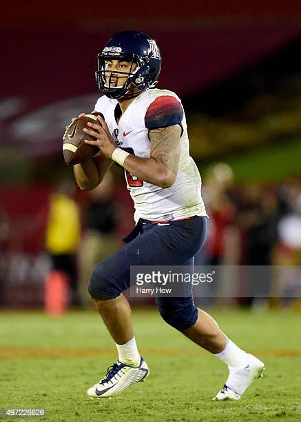 Anu Solomon of the Arizona Wildcats rolls out of the pocket during the game against the USC Trojans at Los Angeles Coliseum on November 7, 2015 in...