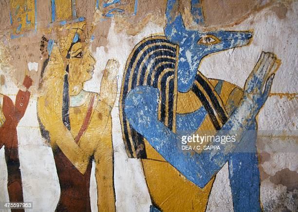 Anubis and Isis detail of a wall painting Tomb of Baenentyu Bahariya Oasis Egypt Egyptian civilisation Saite Period Dynasty XXVI
