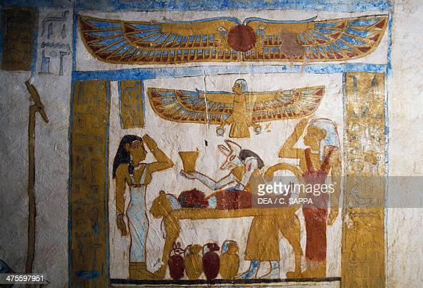 Anubis embalming the dead detail of a wall painting Tomb of Baenentyu Bahariya Oasis Egypt Egyptian civilisation Saite Period Dynasty XXVI
