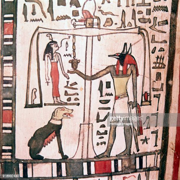 Anubis weighing the heart detail from Sarcophagus of Pensenhor c900 BC Coffin of Pensenhor 22nd Dynasty Thebes Egypt At British Museum Artist Unknown