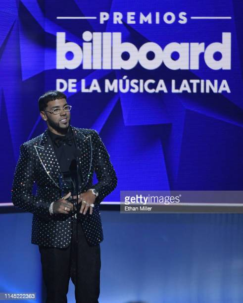 Anuel AA accepts the New Artist of the Year award during the 2019 Billboard Latin Music Awards at the Mandalay Bay Events Center on April 25 2019 in...