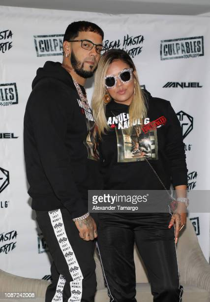 Anuel AA and Karol G are seen at a press conference to announce their joint Latin America Tour at the Mondrian Hotel on January 23 2019 in Miami...