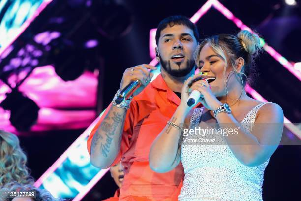 """Anuel AA and Karol G perform during """"El Culpables Tour"""" at Arena Ciudad de Mexico on April 5, 2019 in Mexico City, Mexico"""
