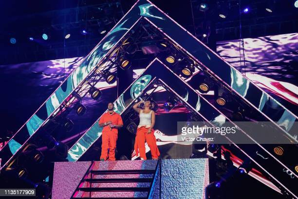 Anuel AA and Karol G perform during El Culpables Tour at Arena Ciudad de Mexico on April 5 2019 in Mexico City Mexico