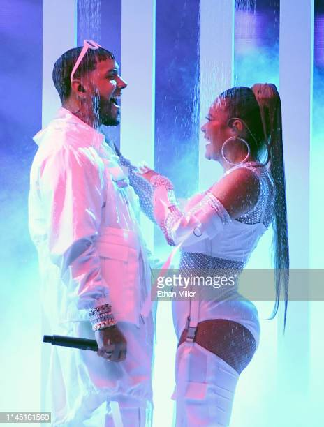 Anuel AA and Karol G perform during the 2019 Billboard Latin Music Awards at the Mandalay Bay Events Center on April 25 2019 in Las Vegas Nevada