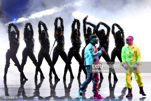 Anuel AA and Ozuna perform onstage during Univision's 33rd Edition of Premio Lo Nuestro a la Música Latina at AmericanAirlines Arena on February 18,...