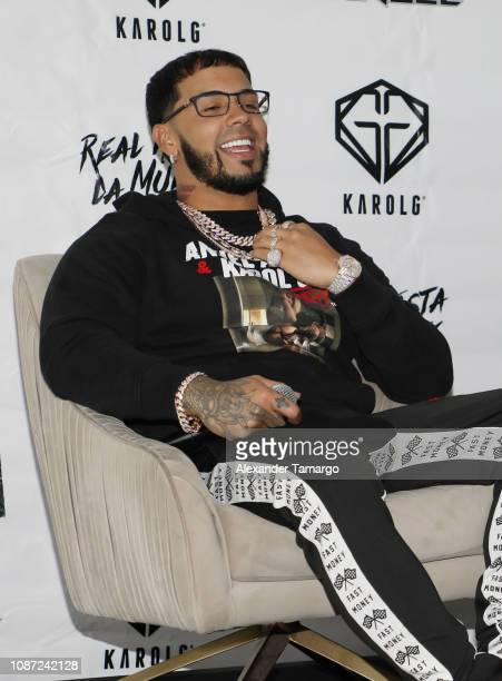 Anuel AA is seen at a press conference to announce his joint Latin America Tour with Karol G at the Mondrian Hotel on January 23 2019 in Miami Beach...