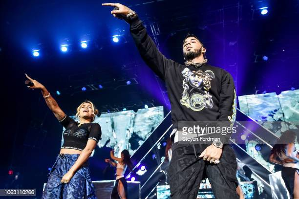 Anuel AA Karol G perform live on stage during Anuel AA Karol G In Concert at United Palace Theater on November 17 2018 in New York City