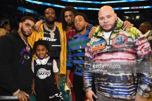 Anuel AA, Meek Mill, J. Cole, Ludacris, and Fat Joe attend the 68th NBA All-Star Game at Spectrum Center on February 17, 2019 in Charlotte, North...