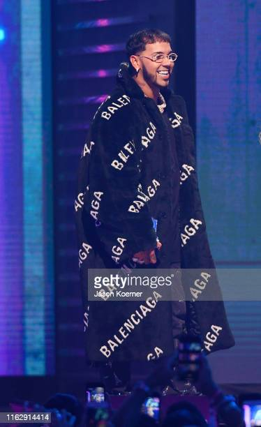 Anuel AA on stage during Premios Juventud 2019 at Watsco Center on July 18 2019 in Coral Gables Florida