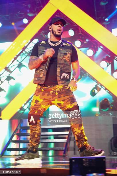 Anuel AA performs during El Culpables Tour at Arena Ciudad de Mexico on April 5 2019 in Mexico City Mexico