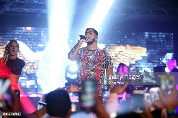 Anuel AA performs live during a concert as part of the 'Real Hasta la Muerte' tour at Far West on November 9 2018 in Dallas Texas