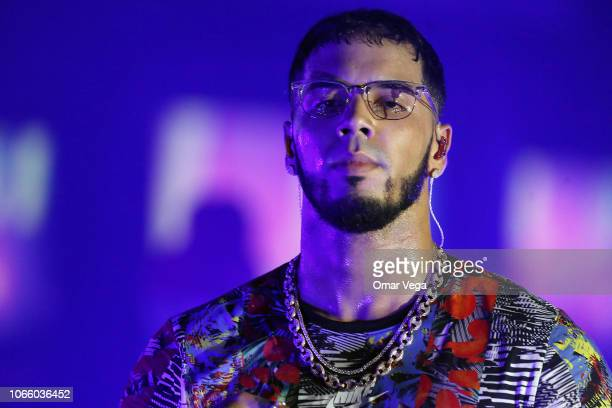 Anuel AA performs live during a concert as part of the 'Real Hasta la Muerte' tour at Far West on November 9, 2018 in Dallas, Texas.