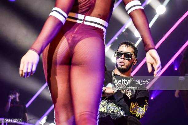 Anuel AA performs live on stage during Anuel AA Karol G In Concert at United Palace Theater on November 17 2018 in New York City