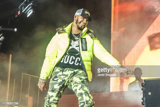 Anuel AA performs on stage at WiZink Center on October 04 2019 in Madrid Spain