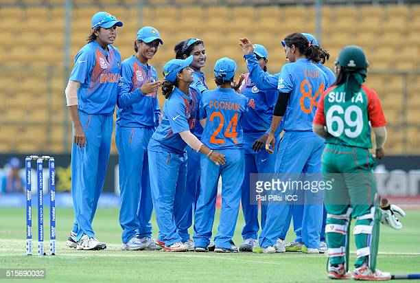 Anuja Patil of India celebrates the wicket of Ayasha Rahman of Bangladesh during the Women's ICC World Twenty20 India 2016 match between India and...