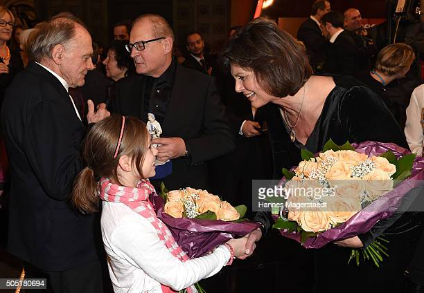 Anuk Steffen and Ilse Aigner during the Bavarian Film Award 2016 show at Prinzregententheater on January 15 2016 in Munich Germany