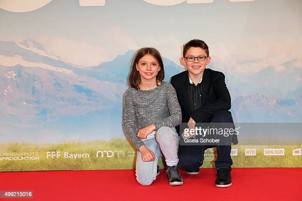 Anuk Steffen and Quirin Agrippi during the German premiere of the film 'HEIDI' at Mathaeser Filmpalast on November 29 2015 in Munich Germany