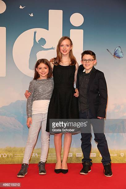 Anuk Steffen Isabelle Ottmann and Quirin Agrippi during the German premiere of the film 'HEIDI' at Mathaeser Filmpalast on November 29 2015 in Munich...