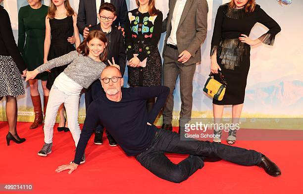 Anuk Steffen Quirin Agrippi and Peter Lohmeyer during the German premiere of the film 'HEIDI' at Mathaeser Filmpalast on November 29 2015 in Munich...