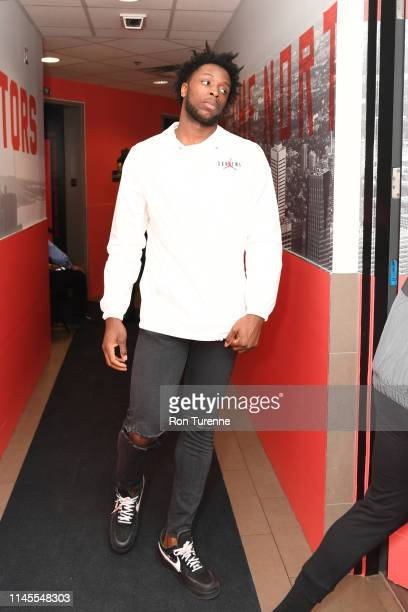 Anunoby of the Toronto Raptors arrives at the arena before the game against the Milwaukee Bucks in Game Four of the Eastern Conference Finals on May...