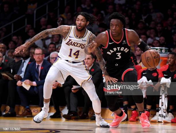 Anunoby of the Toronto Raptors drives past Brandon Ingram of the Los Angeles Lakers at Staples Center on November 4 2018 in Los Angeles California